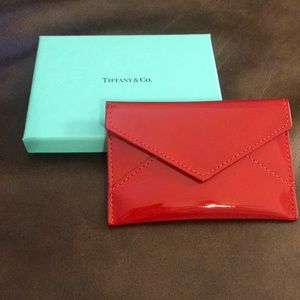 Tiffany & Co red patent leather card case